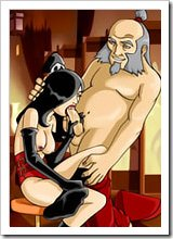 Virgin Avatar Kyoshi moaning in pain and getting bent over hard with hard banana