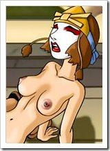 Kyoshi gives a sloppy blowjob to Aang's hulking dick till railed in her throat