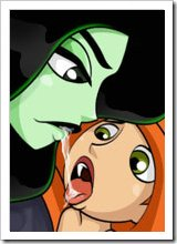 Kim Possible was penetrated in her hot hole by Wade and gets jizz sprayed all over her double d breasts
