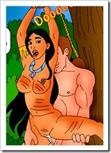 Virgin Pocahontas blowing before getting pumped by Percy
