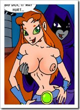Starfire is railed in her mouth by dick and gets off
