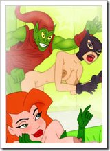 Poison Ivy with heavyweight sextoy stroking The Flash