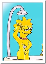Experienced Maggie Simpson with great tits strips to show her cunt and receives a facial
