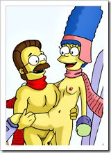 Maude Flanders with pierced rack swallows Ned Flanders and gets attacked