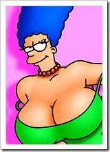 Marge with pretty ass blowing Krusty the Clown's penis