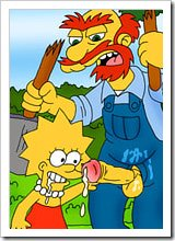 Lisa Simpson gets drilled against her will by Disco Stu's tied dick
