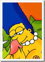 Marge Simpson with jiggling breasts gets mouth filled