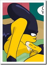 Abused Marge Simpson shows striptease