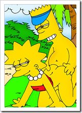 Virgin Lisa Simpson receiving a facial blast